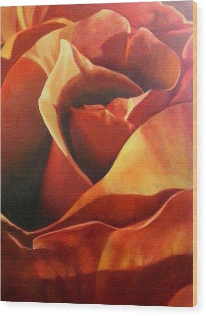 Flaming Rose Wood Print