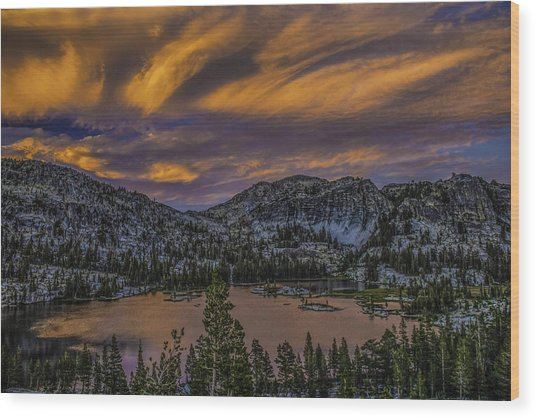 Flaming Sunset Wood Print