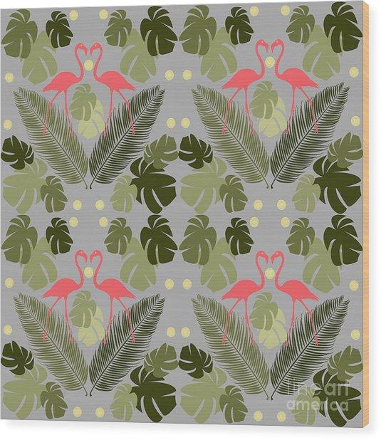 Flamingo And Palms Wood Print
