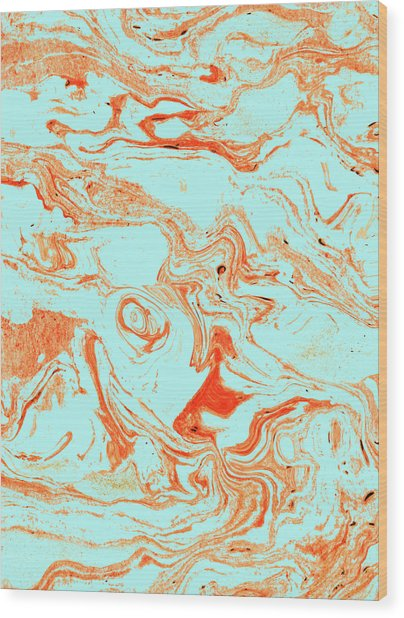 Flamingo And Sea Marble Wood Print