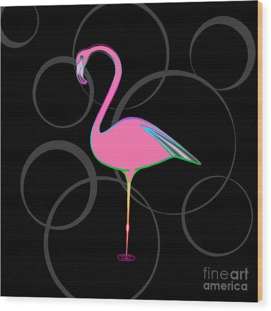 Flamingo Bubbles No 1 Wood Print