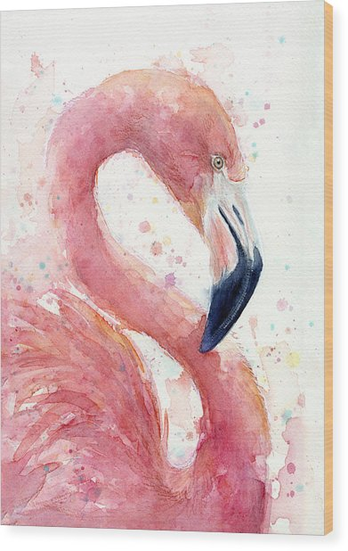 Flamingo - Facing Right Wood Print