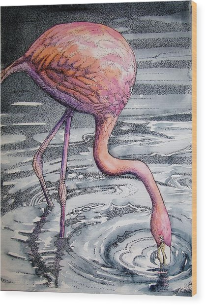 Flamingo Fishing  II Wood Print