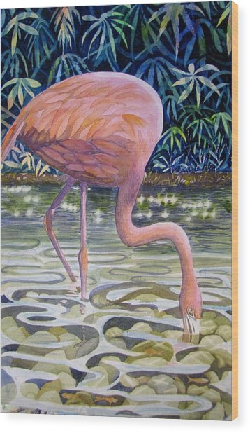 Flamingo Fishing Wood Print