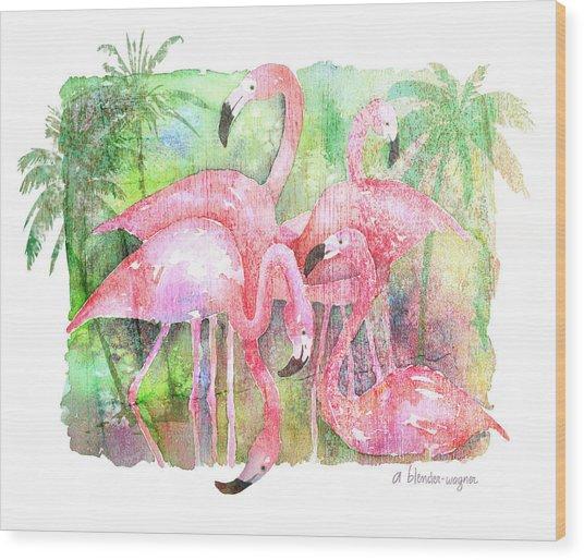 Flamingo Five Wood Print