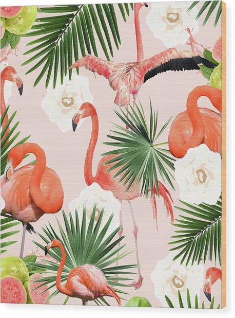 Flamingo Guava Wood Print