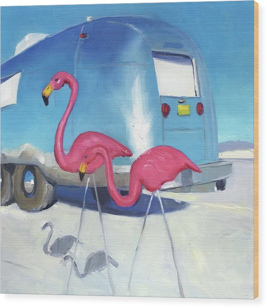 Flamingo Migration Wood Print