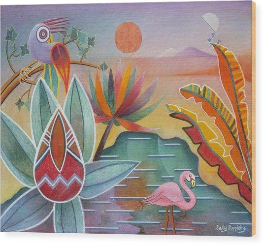 Flamingo Oasis Wood Print by Sally Appleby