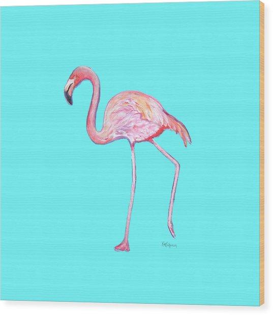 Flamingo On Blue Wood Print