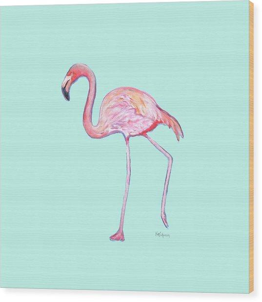 Flamingo On Mint Background Wood Print