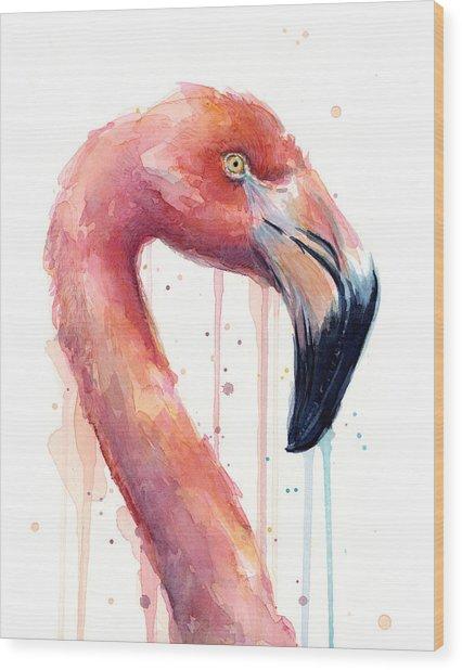 Flamingo Painting Watercolor - Facing Right Wood Print