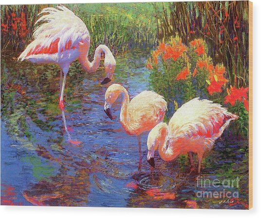Flamingo Tangerine Dream Wood Print