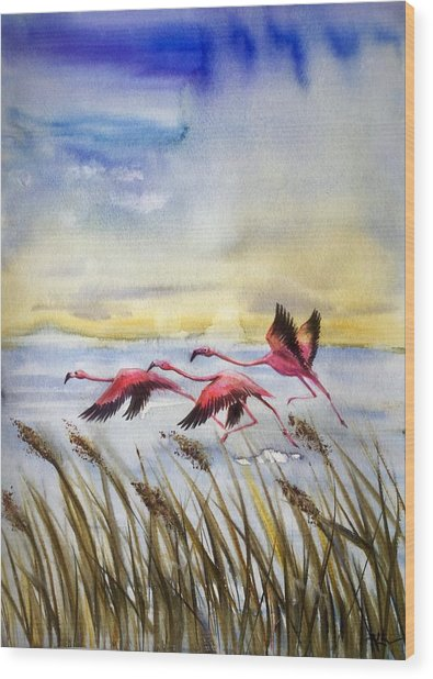 Flamingoes Flight Wood Print