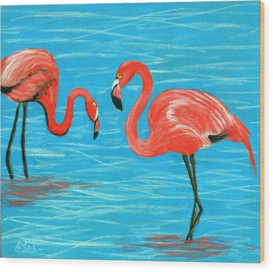 Wood Print featuring the painting Flamingos by Anastasiya Malakhova