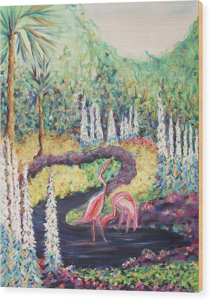 Flamingo's In Florida Wood Print by Suzanne  Marie Leclair