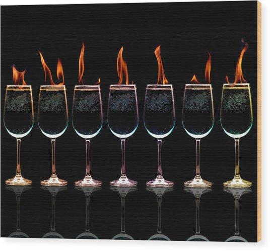 Flamming Glasses Wood Print by Brian Guiler