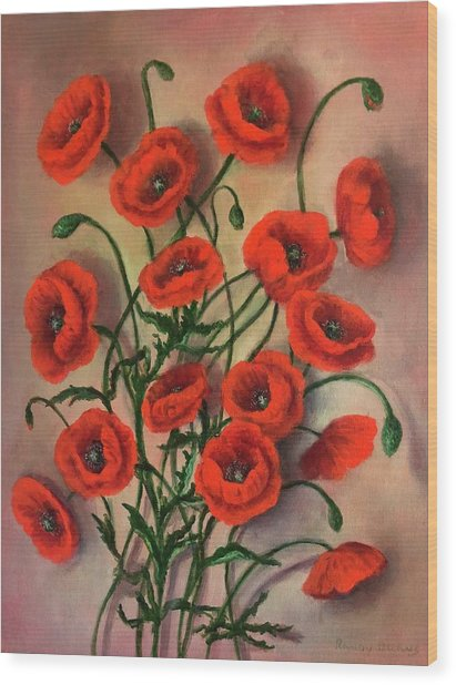 Flander Poppies Wood Print