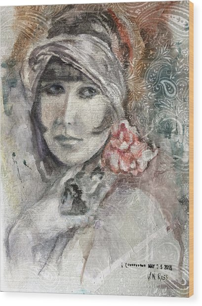 Flapper With Peony Wood Print