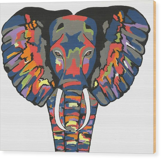 Flashy Elephant - Contemporary Animal Painting Wood Print