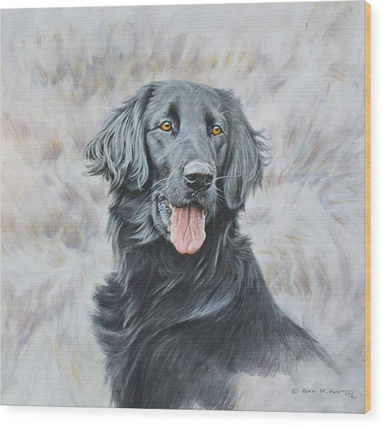 Flat Coated Retriever Portrait Wood Print