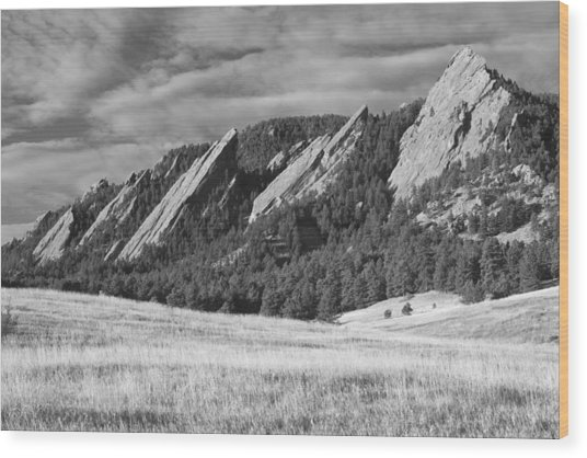 Flatiron Morning Light Boulder Colorado Bw Wood Print