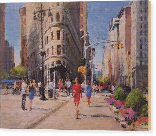 Flatiron Plaza, Summer Morning Wood Print