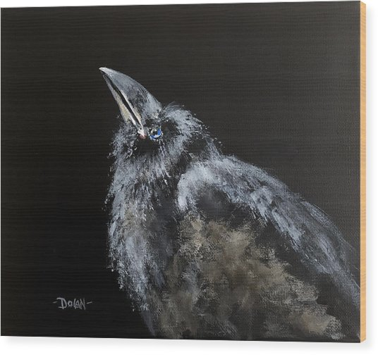 Fledgling Raven Wood Print