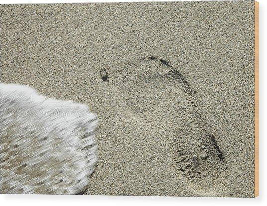 Fleeting Footprint - South Beach Miami Wood Print