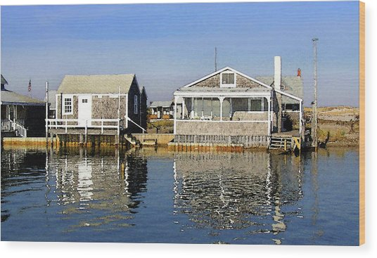 Fletchers Camp And The Little House Sandy Neck Wood Print
