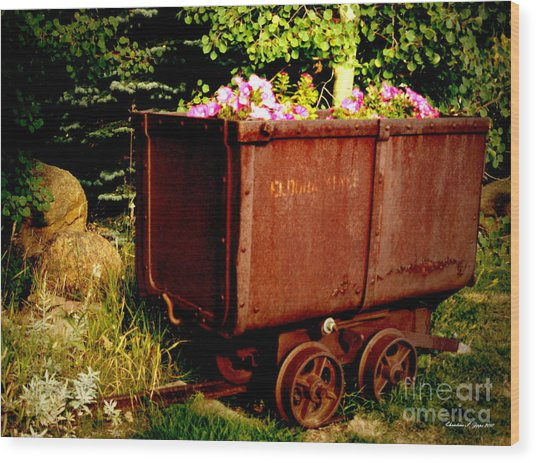 Fleurs In Rustic Ore Car Wood Print by Christine S Zipps
