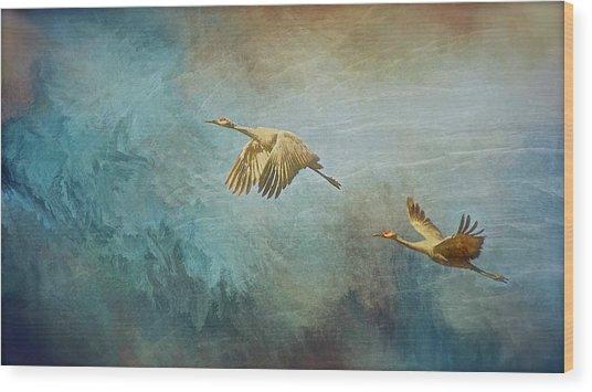 Flight Of Fantasy, Sandhill Cranes Wood Print