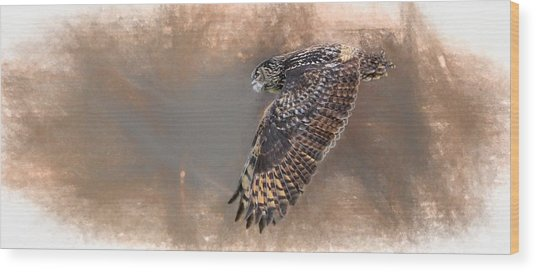 Flight Of The Eagle Owl Wood Print