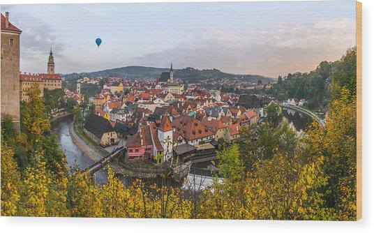 Flight Over The Medieval Town Wood Print