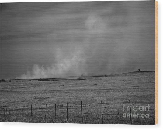 Flint Hills Burning Wood Print