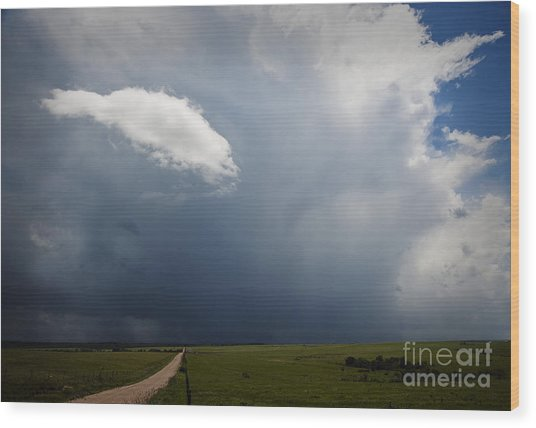Flint Hills Rain Wood Print by Fred Lassmann