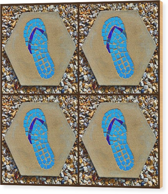 Flip Flop Square Collage Wood Print