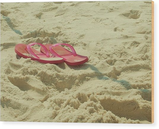 Flip Flops In The Sand Wood Print by Beverly Hammond