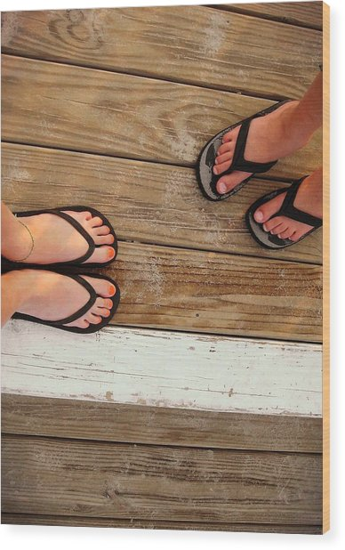 Flip Flops  Wood Print by JAMART Photography