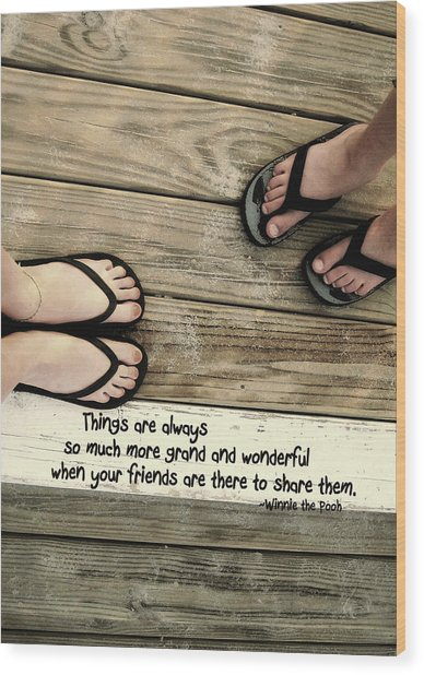 Flip Flops Quote Wood Print by JAMART Photography