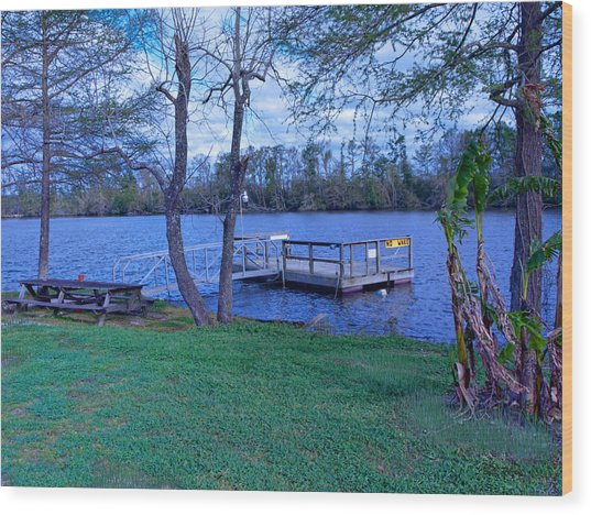 Floating Fishing Dock Wood Print by Bill Perry
