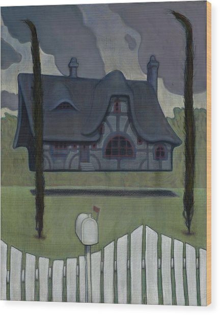 Floating House Wood Print