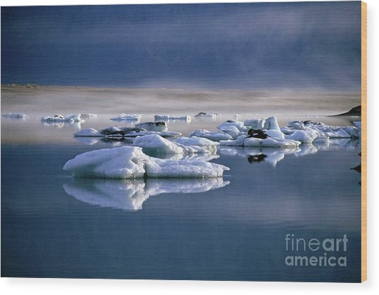 Floating Icebergs Reflected In The Quiet Waters Of Jokulsarlon Wood Print by Sami Sarkis