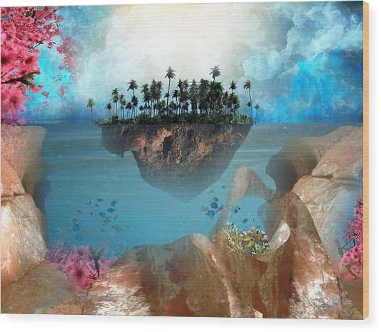 Floating Island Wood Print by Adrienne McMahon