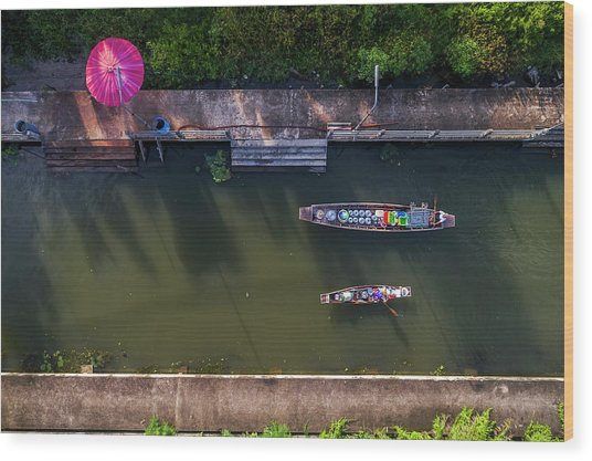 Wood Print featuring the photograph Floating Market Aerial View by Pradeep Raja PRINTS