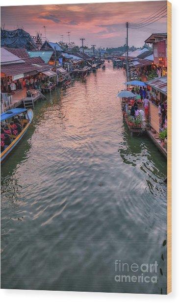 Floating Market Sunset Wood Print