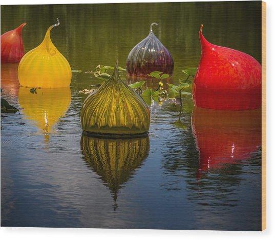 Floating Orbs Wood Print