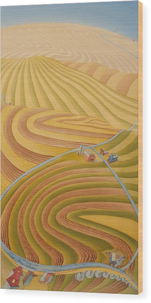 Wood Print featuring the painting Floating Over Fields II by Scott Kirby