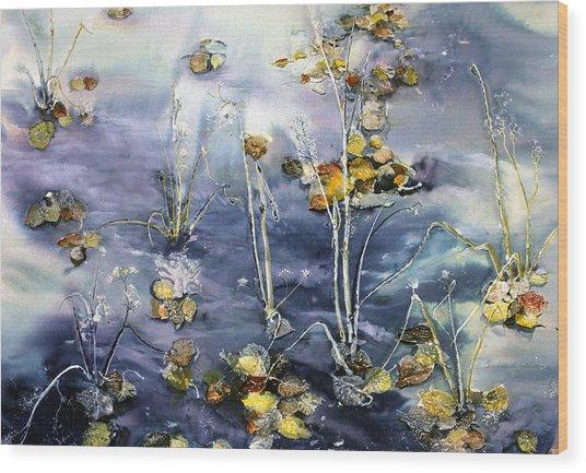 Floating Pond Leaves Wood Print
