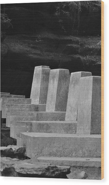 Floating Stone Staircase Wood Print by Peter  McIntosh