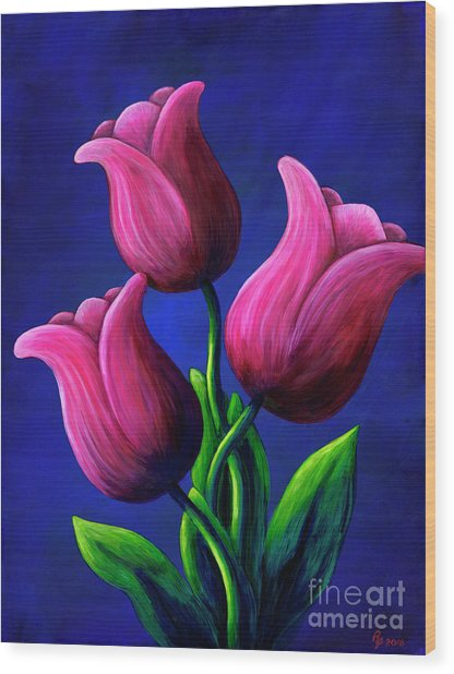 Floating Tulips Wood Print